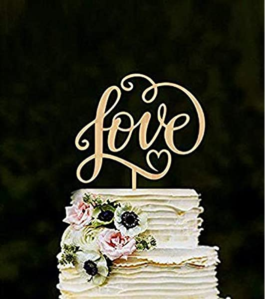 Losuya Love Wedding Cake Toppers Love Letters Wooden Cake Topper Wedding Engagement Decoration Favors Amazon Co Uk Kitchen Home
