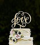 losuya Love Hochzeit Kuchen Topper Love Buchstaben aus Holz Tortenaufsatz Hochzeit Verlobungsring Dekoration Gastgeschenken