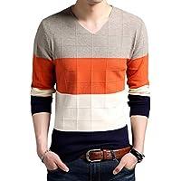 Byqny Hombre Delgado Suéter de Punto Cuadrícula de Color Sweater Manga Larga Camisa Inferior de Escote en V