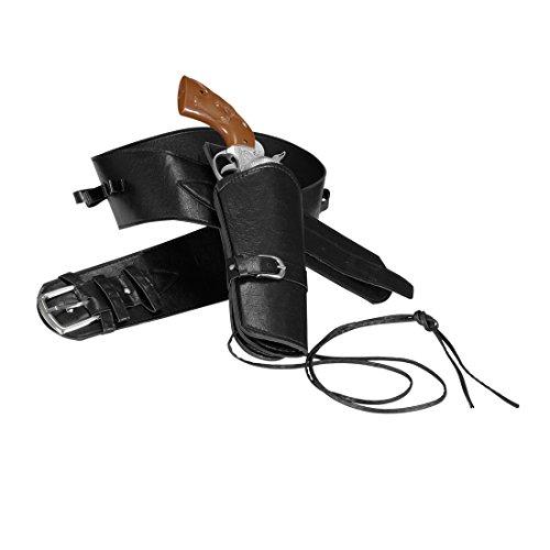 Western Pistolenholster Waffengürtel schwarz Sheriff Westerngürtel Colt Revolver Halfter Cowboykostüm Fasching Accessoire Kostüm Zubehör
