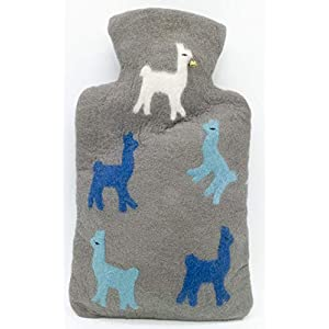 feelz – Wärmflasche gefilzt blau oder rot mit Lama Alpaka-Motiv Filz Wolle (Merino) Wärmflaschenbezug – Handarbeit…