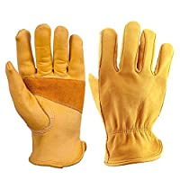 SDYDAY 1 Pair Outdoor Riding Cycling Gloves Grip Leather Work Gloves Gardening Retro Stretchable Tough Five Fingers Wear Resistant Working Gloves(XL)