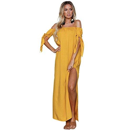 OYSOHE Damen Pure Slash Neck Bow Abendkleid Bodenlangen Sexy Maxi Kleid Frauen Sommer Kleider - Kleid Chiffon Bodenlangen Mädchen