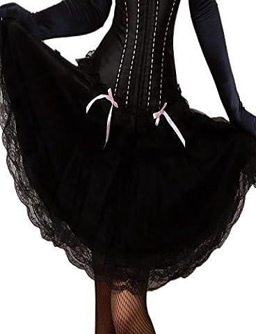 Yummy Bee Schwarzer Schwingender Rock Plissiert Burlesque Spitze Größe 34 - 58 (58) (Bilder Von Moulin Rouge Kostüme)