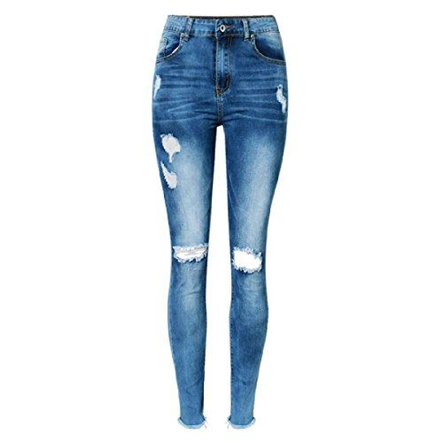 Donna Vestibilità Slim Stretch Pantaloni A Matita Vita Alta Denim Pantaloni Strappato / Personalità Jeans Piede Nappe Pantaloni Taglia Large DarkBlue