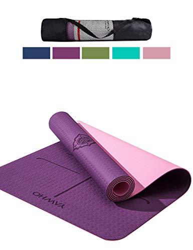YAWHO Tappetino Yoga Tappetino per Il Fitness Tappetino per Esercizi TPE Materiale Ecologico,Specifiche 183 cm X 66 cm,6 mm di Spessore,Tappetino Sport Antiscivolo,Cinghie e Zaini Regalo (Violet)
