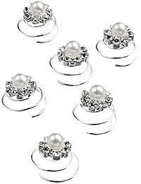 Accessoires de Mariée, Accessoires de Bal, Barrettes à ressort en tourbillon effet cristal nacre x 6