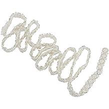 PIXNOR Fajín Sash/Trim con Rhinestone de cristal decoración para vestido de boda (blanco