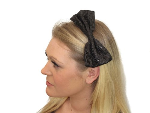 Glitz4Girlz Black Sequinned Bow Fascinator Band by Glitz4Girlz