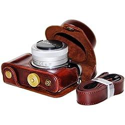 First2savvv XJPT-DDGF7-A10 brun foncé PU cuir étui housse appareil photo numérique pour Panasonic Lumix DMC GF7 GF8 avec Lens 12-32mm