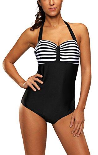 Aidonger Women's Vintage Sailor One Piece Swimsuit Black White Striped Bathingsuit Monokini (One Piece Vintage Swimsuit)
