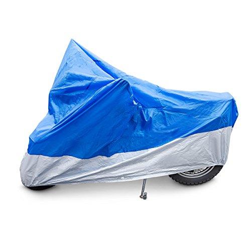 Relaxdays Motorradgarage Kunststoff, robuste Ganzgarage, mit Gummizug, UV-Schutz, H x B x T: 127x105x246 cm, Blau/Silber