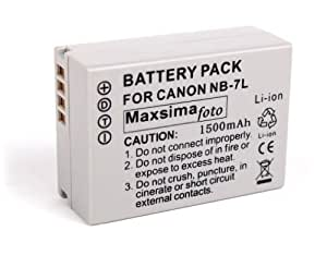 Maxsimafoto - Compatible NB-7L NB7L 1500mAh Battery for Canon POWERSHOT G10, G11, G12, SX30, 12 month warranty. By Maxsimafoto Supplies