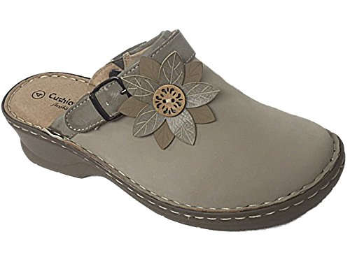 Ladies Cushion Walk Leather Lined Flower Closed Toe Clogs Slip On Sling Back Low Wedge Mules Sandals Shoes Size 3-8 (UK 4, Beige)