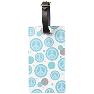 Graphics & More Luggage Suitcase Carry-on Id Tags-Peace Sign Symbol Artsy-Teal, White