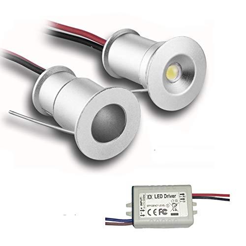 Lot de 6 mini spots encastrés à LED 3 V 1 W - Pour bar/escaliers/placards/couloir - Angle de faisceau 120° - Étanche IP65 - Certifications CE ROHS, Aluminium, blanc froid, 120°