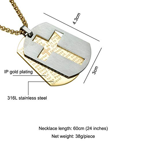 XIAOSO Religiöse Gold Silber Kreuz Anhänger Doppel 316L Edelstahl Kreuz Bibel Vers Gebet Erkennungsmarken Halsketten Schmuck (Bibel-vers-halskette)