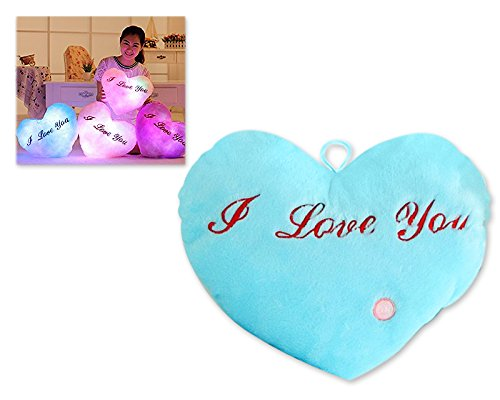 Dsstyles led light cuscino luminoso i love you light up cuscino cuscino a forma di cuore cuscino peluche con altoparlante ideale san valentino regali per la fidanzata - blu