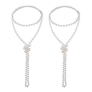 2 Stück 1920s Modern Künstliche Perle Halskette Flapper Perlen Faux Perle Party Zubehör, 71 Zoll