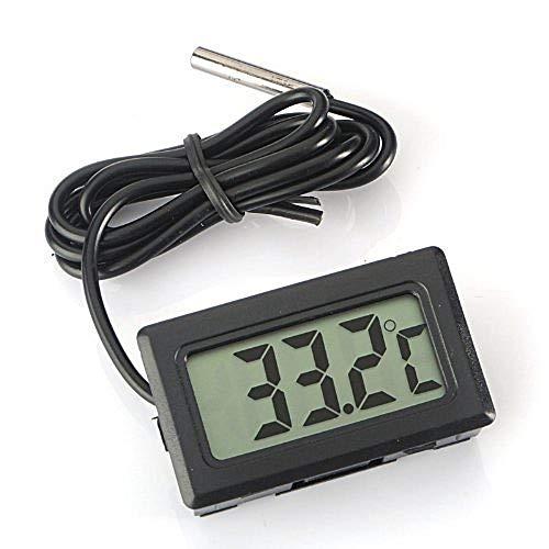 Eidyer Digital LCD Thermometer Temperatur Monitor mit externer wasserdichter Sonde für Kühlschrank Gefrierschrank Kühlschrank Aquarium, FishTank Wasser Temperatur Thermometer Schwarzes