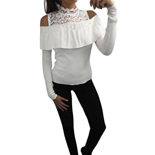 Femmes Sweat,Beauté Top Femmes Dames Noël Manche longue Lettre Sweater Chemisier Tops Toison Chemise Blanc