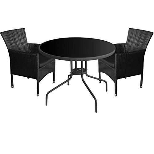 3tlg. Gartenmöbel Set Glastisch Ø90cm + 2x Polyrattan Sessel inkl. Sitzkissen Gartenstuhl Stapelstuhl Gartengarnitur Sitzgruppe Sitzgarnitur