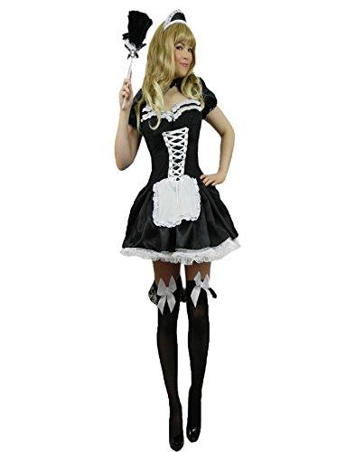 Yummy Bee - French-Maid Kostüm Damen + Echter Federstaubwedel Größe 36 - 56 (Show Kostüme Rocky Horror Halloween)