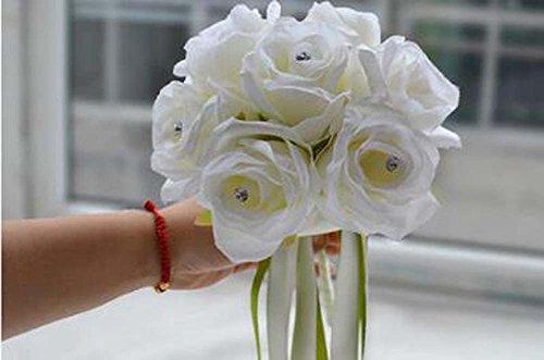 Bouquet de mariée Rose mousse cristal mariage demoiselle d'honneur fleur Satin décoration de mariage cadeaux ( Color : Blanc )