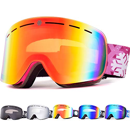 79fe2588729a Snowledge Ski Goggles Womens with Frameless Interchangeable Lens