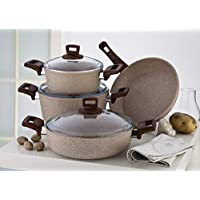Granite Coating Series 7Pcs Cookware Set, 100057685, Beige