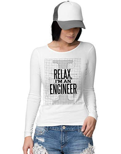 BLAK TEE Relax I'm Engineer Blueprint Slogan Damen Langarmshirt XL (Tank Engine Shirt Thomas)