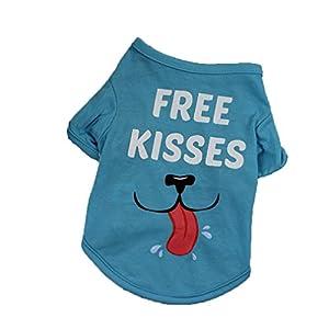 """Angelof Vetement Chien/Chat Tee Shirt Chien Imprimer""""Free Kisses Bleu Gilet Sweat 2 Pattes Pour Printemps Et éTé Accessoire Chien Petite Taille"""
