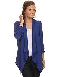 2LUV Plus Women's Plus Size Loose-Fitting Open-Front Asymmetrical Blazer