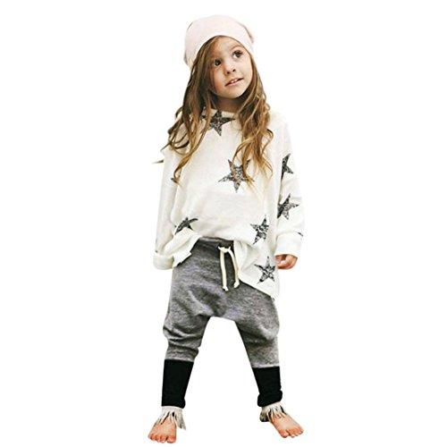 Amlaiworld Mädchen Outfit Kleidung Sterne Langarm T-Shirt + Lange Hosen (130, Weiß) (Floral Plissee-rock Besticktes)