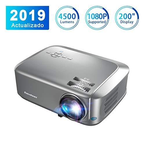 Proyector4500 Lúmenes Excelvan Proyector de Video Portátil Resolución 1280*768P Soporte 1080P Full HD LCD Contraste 1000: 1 1080P/USB/VGA/SD/HDMI para Viajes y casa Compatible con PS4 TV Box Mobile PC