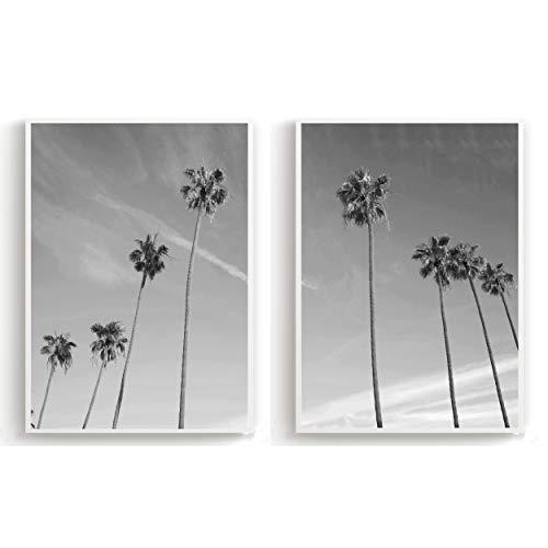 Flanacom 2er Set Design Poster Schwarz Weiß Skandinavische Deko Kunstdruck auf A3 Premiumpapier - Motiv Strand Palmen (ohne Rahmen)