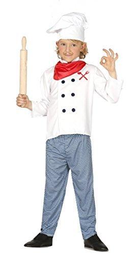 Mädchen Jungen Kopf cook Koch Uniform Job büchertag Kostüm Kleid Outfit 3-12 Jahre - Weiß, Weiß, 3-4 - Job-kostüm