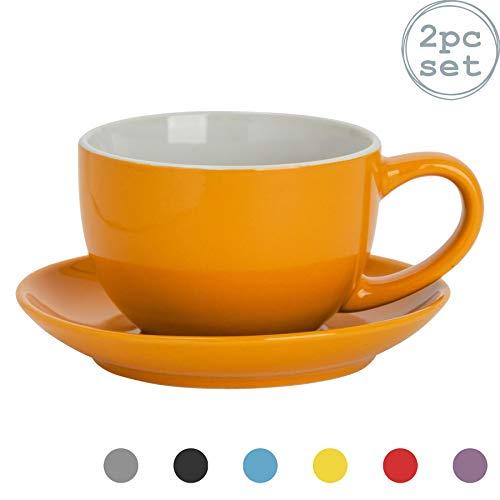 Argon Tableware 2 Stück Farbige Cappuccino Tasse und Untertasse Set - Modern Style Porzellan-Tee-und Kaffeetasse - Gelb - 250ml
