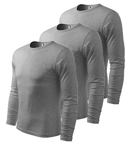 3er Pack Dress-O-Mat Herren T-SHIRT LangarmShirt Longsleeve dunkel grau melliert