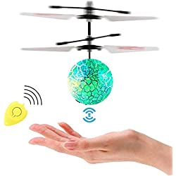 Herefun Bola Voladora RC, RC Flying Juguetes para Niños Flying Ball, Juguete Infrarroja de Inducción Flying Bola Colorida LED Magia Juguetes Drone Helicóptero de Regalo para Niños Adolescentes