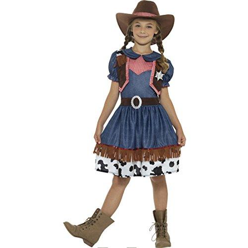 Amakando Wilder Westen Kinderkostüm - S, 4 - 6 Jahre, 115 - 128 cm - Cowboy Mädchenkostüm Karnevalskostüm Wild West Western Lady Verkleidung Faschingskostüm Texanerin Cowgirl Kostüm (Womens Cowgirl Kostüm)