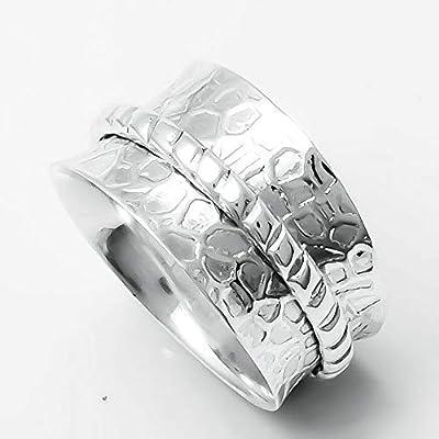Anneaux martelés Spinner Band, Bague en argent sterling 925, Bague Spinner pour femmes, Bague cadeau pour Noël