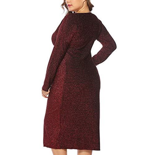 Geraffte Seide Pullover (Malloom-Bekleidung Frauen V-Ansatz Plus Size Geraffte Langarm High Waist Split Party Kleid Langärmeliger Kleiderrock Aus Glänzender Seide Mit V-Ansatz)