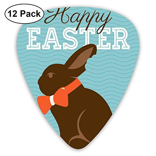 Guitar Picks - Abstract Art Colorful Designs,Chocolate Bunny With An Orange Bow Tie On A Wavy Stripes Background,Unique Guitar Gift,For Bass Electric & Acoustic Guitars-12 Pack Stripe Bow Tie