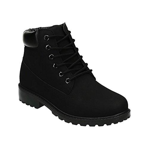 Trendige Damen Stiefeletten Worker Schnürboots Outdoor Wander Stiefel Schuhe Bequem 47 Schwarz