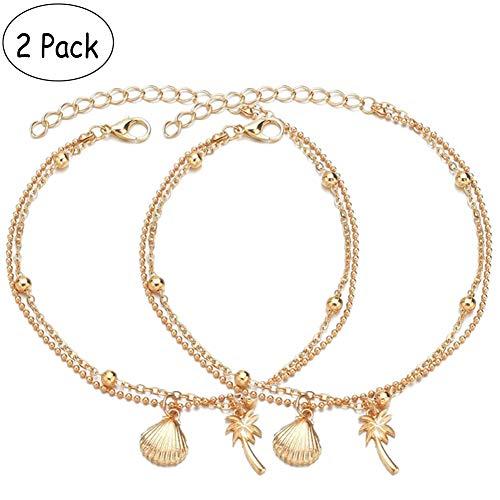 2 Paket Böhmen Gold Muschel Knöchel Armband für Frauen Mädchen Handgemachte Doppelschicht Strand Fußkettchen Kokospalme Legierung Shell Zubehör -