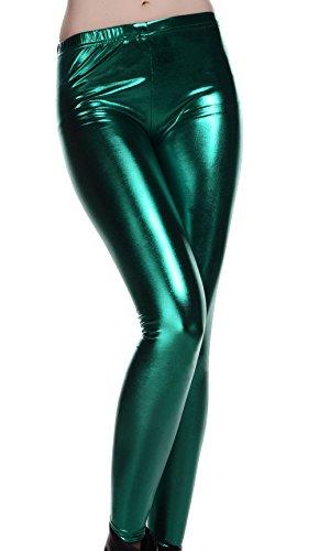 DELEY Mujeres Leggins Cuero De Patente Wetlook Brillante Metálico Líquido Pantalones Skinny Verde