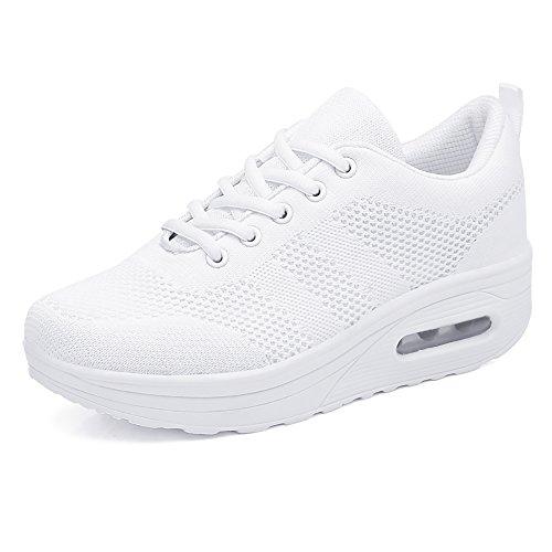 Mujer Zapatillas de Deporte Cuña Zapatos Para Correr Plataforma Sneakers con Cordones Calzado de Malla Air Tacón 5cm Negro Rosa Morado Blanco 34-39 Blanco 39