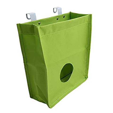 VWH Kitchen Canvas Grocery Bag Holder Trash Garbage Hook Bag Organizer Recycling Containers (green)