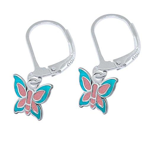 SL-Silver Ohrringe Kinderohrringe Schmetterling zwei Farben Leverback 925 Silber (Hellblau-Rose)